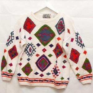 Vintage Authentic Forenza Sweater 1980s Abstract